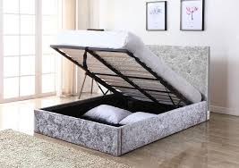 ottoman bed single grey crushed velvet silver double storage ottoman lift up bed