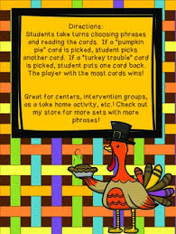 thanksgiving sight word phrase set one by meganb113 tpt