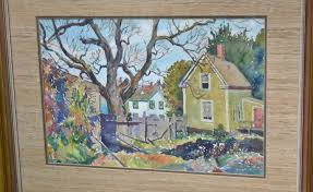 Vintage Home Decor Websites Vintage Watercolor Painting Framed Houses Town Backyard Scenery
