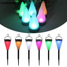 Color Changing Landscape Lights Ourwarm Solar Led Path Light Abs Waterproof 7 Color Changing