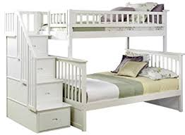 Amazoncom Columbia Staircase Bunk Bed Twin Over Full White - White bunk beds twin over full with stairs
