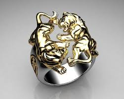 ceramic lion ring holder images Unique mens ring lion ring sterling silver and gold with black jpg