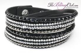 swarovski crystal leather bracelet images Black bling vegan leather crystal wrap bracelet buy bling here jpg