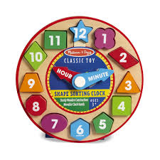 amazon com melissa u0026 doug shape sorting clock wooden