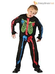 boys girls multi coloured skeleton jumpsuit kids fancy dress