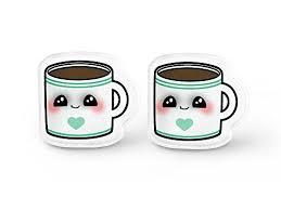 grunge earrings coffee mug earrings kei foodie gift but coffee