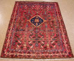 Red Blue Rug 4 X 6 Persian Malayer Tribal Hand Knotted Wool Salmon Red Navy
