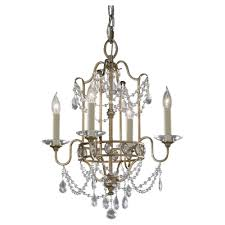 Small Glass Chandeliers Feiss 4 Light Gold Mini Chandelier F2476 4gs The Home Depot