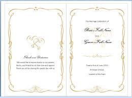wedding program wording exles word wedding template europe tripsleep co