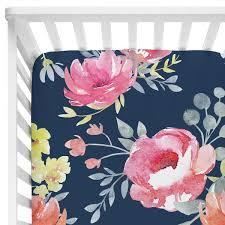 navy midnight floral bouquet bumperless crib bedding caden lane