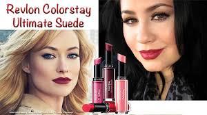 tutorial lipstik revlon revlon ultimate suede lipstick review demo olivia wilde