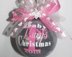 Baby Pink Christmas Decorations Baby U0027s First Christmas Ornament Personalized New Baby