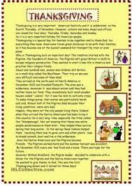 thanksgiving reading comprehension school reading