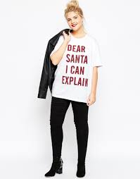 asos dear santa i can explain christmas t shirt in white lyst