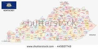 kentucky flag map administrative map flag us state kentucky stock vector 445607749