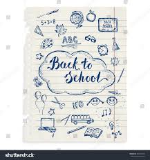 doodle presentations back school sketched icons on copybook stock vector 466547948