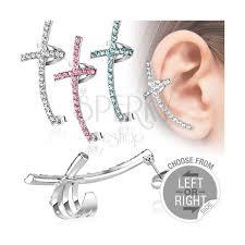 piercing ureche piercing fals pentru ureche cruce colorată cu zirconiu