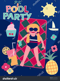 drinking cocktail pool party summer stock vector 204496348