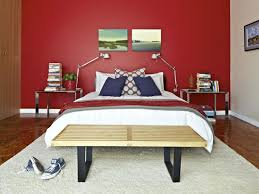 Nice Bedroom Wall Colors Nifty Red Theme With Big Single Bed Between Nice Slender Light On