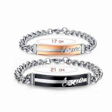 Customized Gold Bracelets 2 Pcs Stainless Steel Lovers U0027 Couple Bracelets Customized Engraved