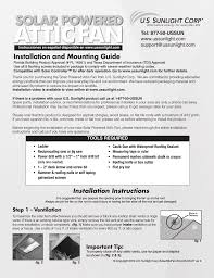 u s sunlight 9930tr solar powered attic fan user manual 4 pages