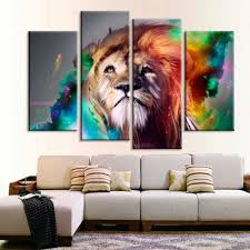 Painting Home Decor by Large Lion Animal Canvas Print Oil Painting Wall Picture For