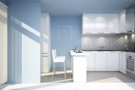 kitchen blue wall paint color with modern furnitures the