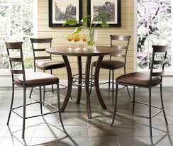 Furniture Wooden And Metal Counter by 5 Piece Round Counter Height Table U0026 Ladder Back Stools Set By