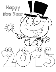 coloring pages of cartoon happy new year from island coloring point