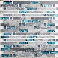 Glass And Stone Blend Mosaic Wall Tile Backsplash Blue Wave Marble - Stone glass mosaic tile backsplash