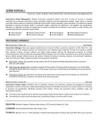 Construction Project Manager Resume Samples by Construction Project Planner Resume Sample Contegri Com