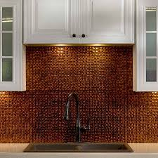 aspect 3 x 6 brushed copper short grain metal backsplash tile