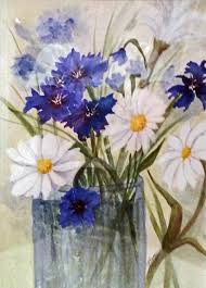 Bachelor Buttons Button Bouquet Painting By Judy Regnier