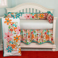 Girls Crib Bedding Orange Baby Bedding Lizzie Turquoise Pink And Orange Flowers 11