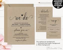kraft paper wedding invitations lettered rustic diy kraft paper wedding invitation
