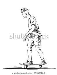 sketch skateboard hipster haircut riding on stock vector 699589663
