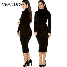 plus size bodycon dress women long sleeve black winter dress