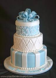 my pink little cake white and baby blue baptism cake