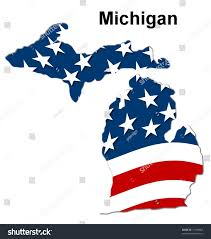 Michigans Flag Map State Michigan American Flag Stock Illustration 11950054
