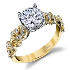 engagement rings yellow gold vintage milgrain diamond engagement ring with lyria crown in