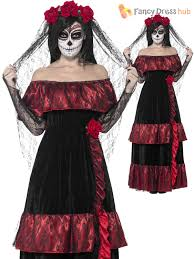 Corpse Bride Costume Ladies Halloween Day Of The Dead Zombie Corpse Bride Womens Fancy