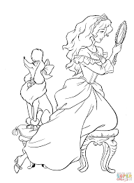 princess and her poodle dog coloring page free printable