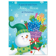 snowman with gifts non personalized classic christmas cards set