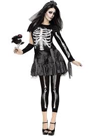Ladies Skeleton Halloween Costume by Haunting Skeleton Bride Black With Veil Escapade Uk