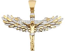 angel wing gold necklace images 10k yellow gold real genuine diamond jesus angel wings crucifix jpg