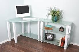 sleek desk sleek modern white glass corner desk with shelved extension