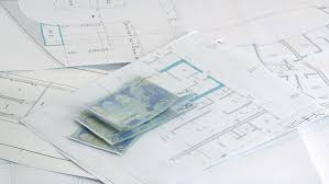 Architectural Plans Blueprints A Stack Of Professional Architectural Drawings Stock