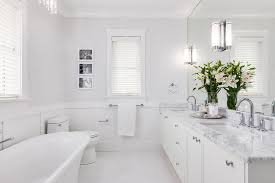 master bathroom with porcelain floor tiles transitional
