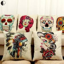 Skull Decorations For The Home Halloween Mexican Sugar Skull Cushion No Inner Decorative Throw