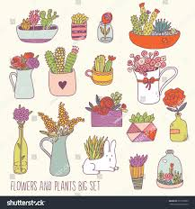 sweet house bright flowers plants big set vector stock vector 277999505